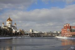 View of the Moscow River and Moscow River embankments in March stock photo