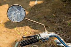 Left rear mirror and hand bar with brake system of vintage Japan. Ese motorcycle stock images