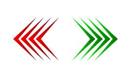 Left and right arrows. Vector illustration. Red arrow left and green arrow right, isolated. Vector illustration. Set of color arrows Stock Image