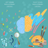 Left and right brain analytical and creativity back to school Royalty Free Stock Photos