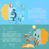 Left and right brain art and creativity of logic banners Royalty Free Stock Image