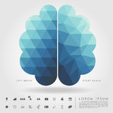 Left and right brain on concept pattern and free form geometry Stock Photos