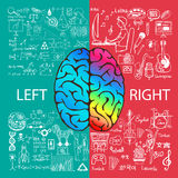 Left and right brain functions with doodles Royalty Free Stock Image