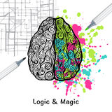 Left And Right Brain. Hand drawn human brain with left logic and right creative hemispheres vector illustration stock illustration