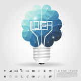Left and right brain light bulb polygon with business icon Stock Photos