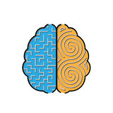 Left and right brain with mazes inside concept Royalty Free Stock Image