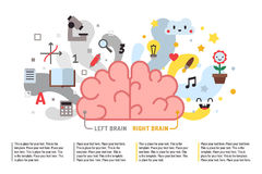 Left and right brain vector fun illustration with place for your text. Template. Modern flat style. Royalty Free Stock Photo