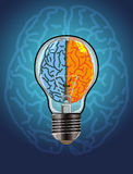 Left and Right Brain. From where an idea comes, whether from the right or left brain vector illustration