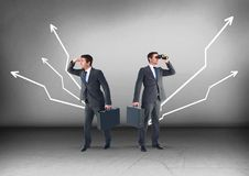 Left or right crooked direction arrows with Businessman looking in opposite directions Royalty Free Stock Image