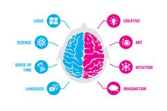 Left and right human brain concept. Logic and creative hemispheres infographics with brain and icons of science, time