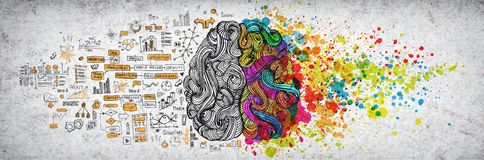 Left right human brain concept, textured illustration. Creative left and right part of human brain, emotial and logic stock illustration