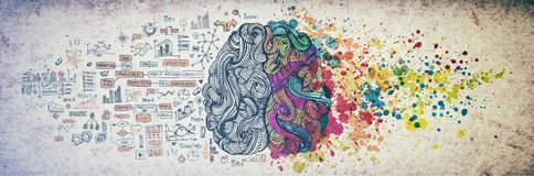 Left right human brain concept, textured illustration. Creative left and right part of human brain, emotial and logic royalty free illustration