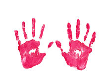 Left and right kids red color handprint isolated on white background Royalty Free Stock Photography