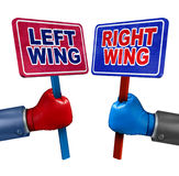 Left And Right Politics. Concept as two election candidates representing conservative and liberal values as democrat and republican debate using signs and Stock Photos