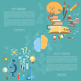 Left and right side of the brain logic and creativity. Back to school sciences and arts vector banners Royalty Free Stock Photography