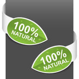 Left and right side signs - 100% natural. Vector illustration Royalty Free Stock Photography