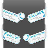 Left and right side signs - Contact us and Call us Stock Image