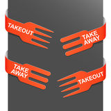 Left and right side signs - Takeout and Takeaway. Vector illustration vector illustration