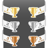 Left and right side signs - Trophy cups Stock Photo