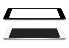 Left and right side view of black and white tablet pc with blank Royalty Free Stock Image