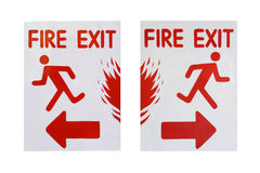Left and right sign of fire exit text Royalty Free Stock Photo
