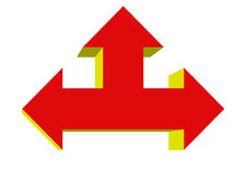 Left Right up arrow. 3D arrow icon symbols point in right, left, up, north, south, and west directions Stock Photo