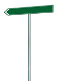 Left road route direction pointer this way sign, green isolated roadside signage copy space, white traffic arrow frame roadsign Stock Images
