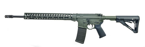 Left side AR15 rifle with foliage green paint Stock Images