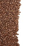 Left side frame of coffee beans on white background Royalty Free Stock Photography
