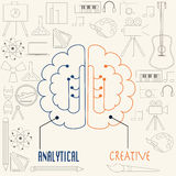Left side and right side brain concept. In linear style vector illustration