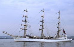 Russian training sailship Nadezhda. Left side of Russian training sailship Nadezhda at anchor before Tall Ships race. Slide scan, analog photography Royalty Free Stock Photography