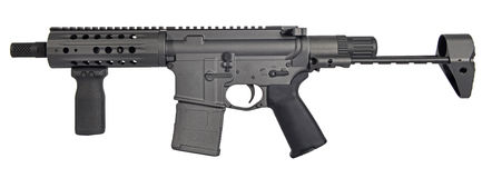 Left side SBR AR15 / M16 with collapsible stock, 7.5` barrel and 20rd mag Royalty Free Stock Photos