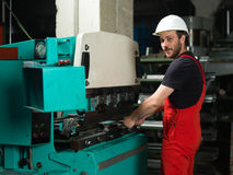 Left side view of a worker Stock Photos