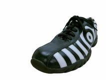 Left side of zebra shoe. Isolated photo of left side of zebra design shoes Stock Photos