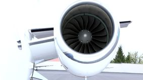 Left small jet engine. With rotating turbine stock footage