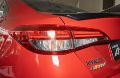 Left Taillight or Tail Lamp of Red Toyota Yaris Ativ 2020 Car in Showroom