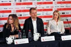 Actors from Finland at Moscow International Film Festival stock image
