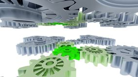 Left to right camera slow move of between many gray and green big gears. With a white background vector illustration
