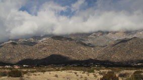 Left to right pan of the Sandia Mountains stock video footage
