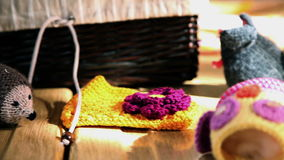 Left to right pan shot over the table with knitting products stock video footage