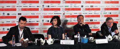 Press conference of the movie Departure at 39th Moscow International Film Festival Royalty Free Stock Image