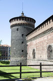 Left tower Castello Sforzesco Castle Milan Italy Royalty Free Stock Photography