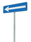 Left traffic route only direction road sign turn pointer, blue isolated roadside signage perspective, white arrow icon and frame Stock Image