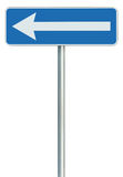 Left traffic route only direction sign turn pointer, blue isolated roadside signage, white arrow icon and frame roadsign, grey Stock Image