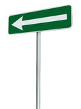 Left traffic route only direction sign turn pointer, green isolated roadside signage perspective, white arrow icon frame roadsign Stock Images