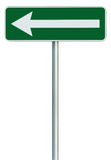 Left traffic route only direction sign turn pointer green isolated roadside signage white arrow icon frame roadsign grey pole post Stock Photography