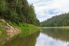 A left tributary of the Yenisei River. Krasnoyarsk region, Russia Royalty Free Stock Photography