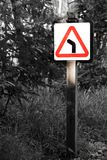 Left turn ahead. As the sign says, left turn ahead! Follows where it leads you to stock photos