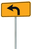 Left turn ahead route road sign perspective, yellow isolated roadside traffic signage, this way only direction pointer black arrow Stock Photography