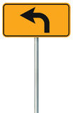 Left turn ahead route road sign, yellow isolated roadside traffic signage, this way only direction pointer, black arrow frame Stock Photography
